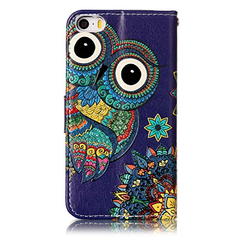 Cover iphone SE 5 5S, Custodia iphone SE 5 5S, Cozy hut Per iphone SE 5 5S Custodia , Lussuosa Shock-Absorption PU pelle Leather Wallet Supporto Stand e Porta Carte Integrati Portafoglio Flip Custodia Gufo da cartone animato