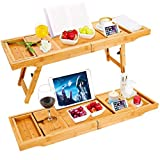 Luxuriöses Badewannen-Tablett aus Bambus mit ausziehbaren Seiten und integriertem Ständer für Bücher oder Tablets sowie mit integriertem Smartphone- und Weinglashalter und anderes Zubehör