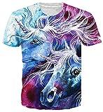 Spreadhoodie Hombre T-Shirt Modelo 3D Unicornio Impresos de Dibujos Colores Animados Casual Camiseta de Manga Corta Tees XL