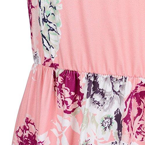Walant Damen Ärmellos Drucken Maxi Kleid Lang Sommerkleid Strandkleid Rosa