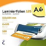 100pezzi DIN A6laminazione 111X 154mm, 2X 125Mic, lucido printation Premium Pouches