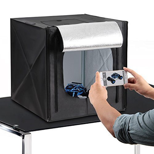 Amzdeal Kit Photo Studio Boîte de lumière avec éclairage LED, Tente cube pliable 50cm×50cm×50cm inclus 4 Fonds(Blanc/Noir/Gris/Orange)