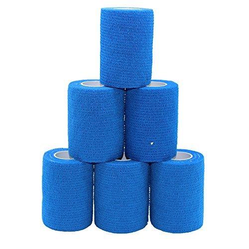 6 Rotoli Self-Adherent BANDAGE Sports Tape Nastro Blu Caviglia Fascia Contenitiva Bende addesive 7.5 cm Coesa Bendaggio