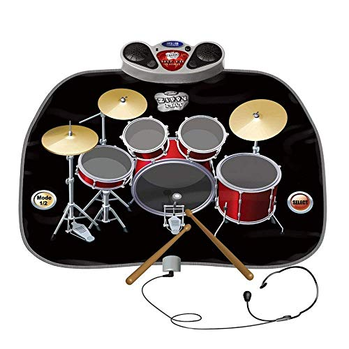 Lzour Electric Musical Playmat Spielzeug Instrument Drum Kit enthält Kopfhörer mit Mic & Drum Sticks MP3/CD-Verstärker für Kinder (Drum-mic-kit)