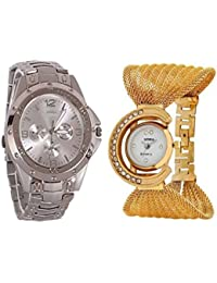 Briota Analogue Silver & Gold Color Designer Watch For Men & Women Combo Pack Of 2
