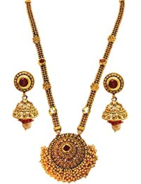 [Sponsored]Satyam JewelleryNx Traditional Multi-color Ruby Golden Long Necklace Set For Women Fashion Jewellery