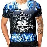 Skull Themed Series Mens 3D Druck Terro Skull Lässige Kurzarm Shirt Top Bluse,Schwarz Blau,XXXL