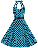 bbonlinedress 1950er Neckholder Vintage Retro Rockabilly Cocktail Party Kleider Blue Black BDot 2XL