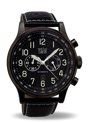 Davis 0452 - Reloj aviador para hombre 48 mm, cuarzo, cronógrafo sumergible 50M, correa de piel, color negro con pespunte de Davis