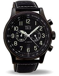 Davis 0452 - Reloj aviador para hombre 48 mm, cuarzo, cronógrafo sumergible 50M, correa de piel, color negro con pespunte