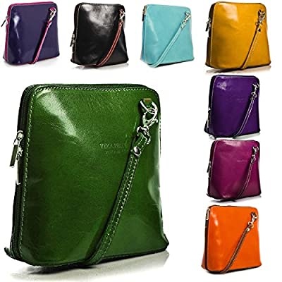 Women's Genuine Italian Real Leather Small Mini Classic Cross Body bag or Messenger Bag - top-handle-bags