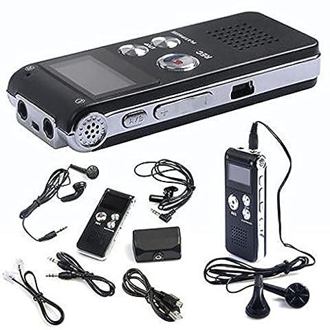 hansee Dictaphone, mini lecteur MP3, enregistreur vocal 8Go enregistrement stéréo numérique, enregistreur audio, rechargeable