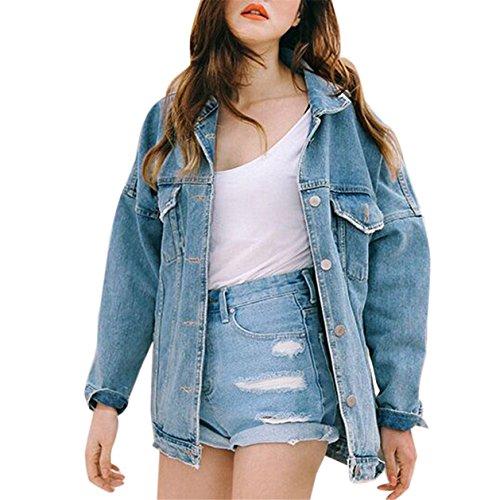 Yuan Women Girls Boyfriend Jean Jacket,Oversize Loose Fit Long Sleeve Vintage Denim Coat Outwear
