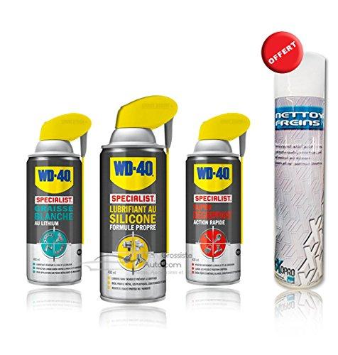 Pack WD40 : Super dégrippant + Graisse blanche au lithium + Lubrifiant au silicone 400ml + Dégraissant mécanique Offert