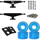 "Longboard Skateboard Trucks Combo Set 70mm Bigfoot Pathfinder Wheels With Polished Or Black Trucks, Bearings, And Hardware Package (70mm Blue Wheels, 7.0 (9.63"") Black Trucks)"