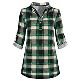 SANFASHION Crop Tops Damen Sommer Zip Plaid V-Ausschnitt Casual Shirt Bluse T-Shirt