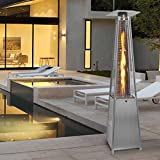 Costway 13KW Outdoor Patio Heater Stainless Steel Gas Flame Pyramid Garden W/ Wheel Tube (1 X Patio Heater)
