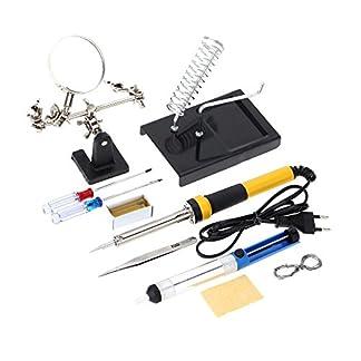 KKmoon – Kit soldador doméstico Z606220V-240V, 60W con 10 instrumentos de soldador, como lupa de aumento, hilo soldador, ventosa de soldar y colofonia