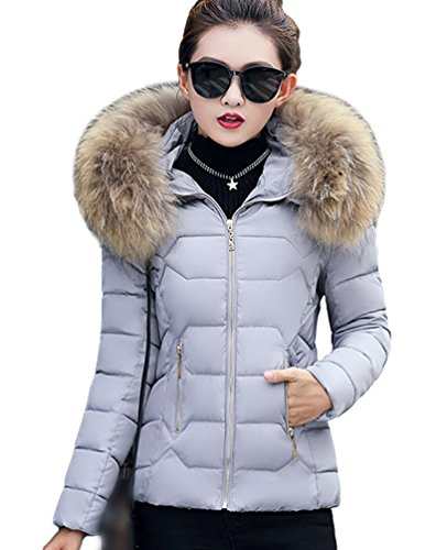 Yiiquan Donna Giubbino con Cappuccio di Pelliccia Faux Cerniera Imbottito Invernale Calda Giacca Cappotto Grigio # 2(M)