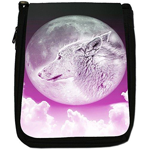 Lupo e luna Medium Nero Borsa In Tela, taglia M Moonlight Wolf - Pink
