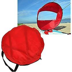 Alomejor Kayak Wind Sail Paddle 108cm Voile Pliable avec Fenêtre Claire Et Sac De Rangement Kayak Canoë Accessoires Compact Et Portable(Rouge)