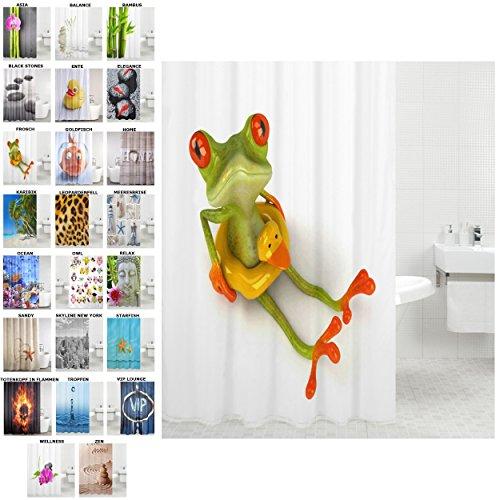 Und Grün Duschvorhang Orange (Duschvorhang, viele schöne Duschvorhänge zur Auswahl, hochwertige Qualität, inkl. 12 Ringe, wasserdicht, Anti-Schimmel-Effekt (Frosch, 180 x 200 cm))