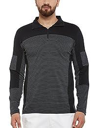 Hypernation Black And White Pin Stripe Cotton Zipper Polo T-shirt For Men