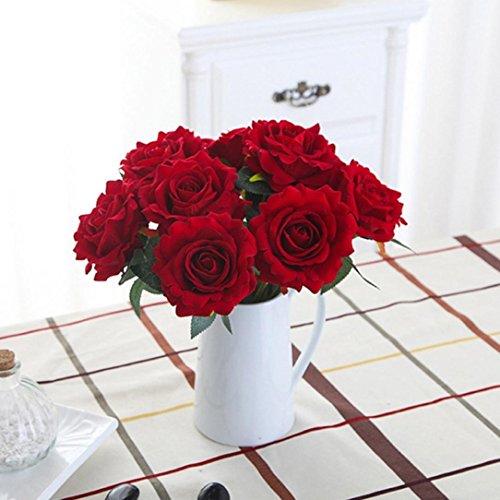 Sunday Wohnaccessoires & Deko Kunstblumen Künstliche 5 Stück künstliche Fake Rosen Flanell Blume Bridal Bouquet Hochzeit Pink Rot Weiß