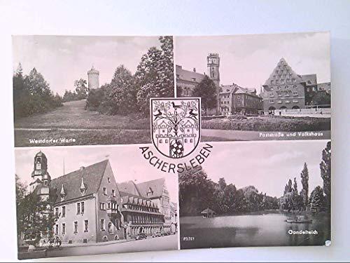 AK. Aschersleben. Mehrbildkarte mit 4 Abb. Wappen. s/w.