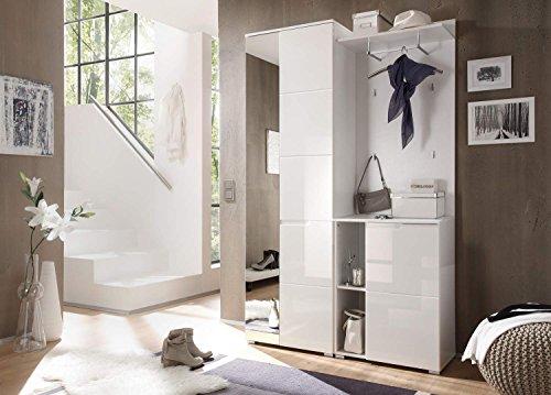 Kompaktgarderobe in Hochglanz weiß, bestehend aus Kleiderschrank, Paneel und Kommode, Gesamtmaß der Garderobe: BHT ca. 12019840 cm