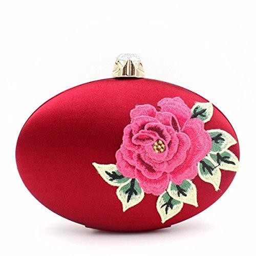 Le Donne Di Moda Mini Fiori Di Seta Sacchetto Del Pranzo Borsa A Mano Stile Nazionale Red