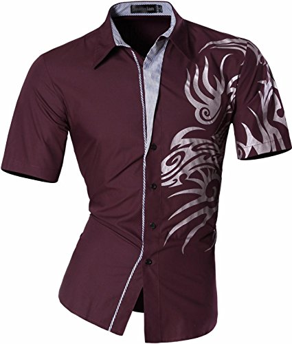 jeansian Herren Freizeit Hemden Short Sleeves Totem Printing Button Down Dress Shirts Slim Fit Men Shirts Top Z031 WineRed