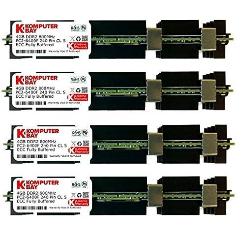 Komputerbay - Módulo de memoria RAM APPLE MAC PRO 2008 3,1 (2,8 3,0 3,2), 16 GB (4x 4 GB), DDR2, PC2-6400F, 800MHz, ECC Fully Buffered, FB-DIMM (240 PIN), con MAC disipador de