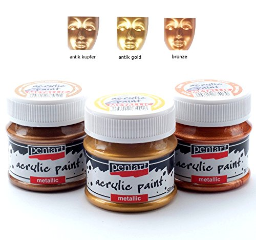 Acrylfarben Set Metallic 3x50ml - Set 3. Metallfarbe, Bastelfarbe, Acrylfarbe