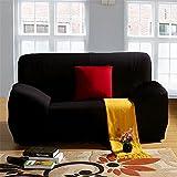 Lotusblume, Wintervlies-Sofa 2-Sitzer elastisch Bezüge für Sessel Stuhlhusse aus Farbe Pure inkl. Sofa - schwarz