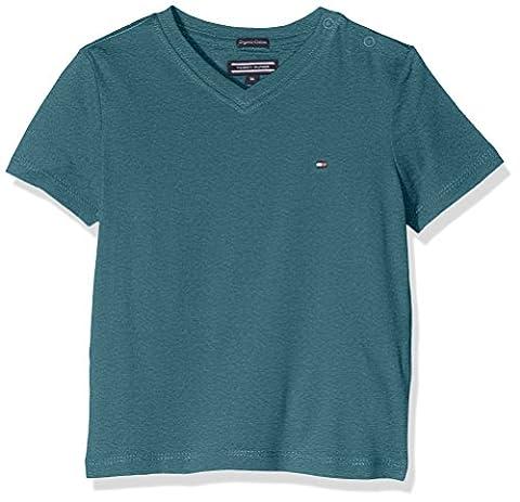 Tommy Hilfiger Jungen T-Shirt Ame Basic VN Tee S/S, Grün (Blue Spruce Heather 377), 110 (Herstellergröße: 5)