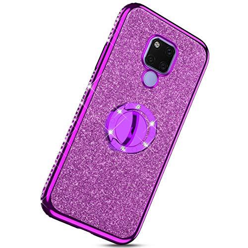 Herbests Kompatibel mit Huawei Mate 20 X Glitzer Strass Bling Diamant Handytasche Handyhülle Durchsichtig Silikon Handyhülle Tasche Case Silikon TPU Bumper mit 360 Grad Ring Ständer,Lila