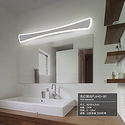 Mirroor Sinfull moderne de salle de bain wc LED avant Miroir lumières Acrylique 24W Miroir lampe murale L52cm LED Applique 90–260VV éclairage, dimensions (L 12W, Blanc chaud (2700–3500K)