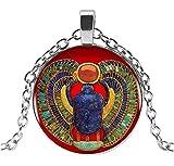 Générique Collar con Colgante de escarabajos Egipcio con símbolo Sagrado, Cadena de Acero. D1.
