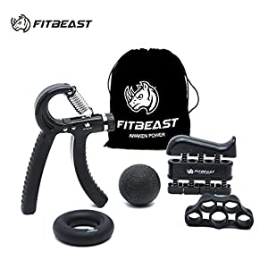 FitBeast Hand Grip Strengthener Forearm Grip Workout Kit - 5 Pack Adjustable Hand Gripper, Finger Exerciser, Finger Stretcher, Exercise Ring & Stress Relief Grip Ball for Athletes and Musicians