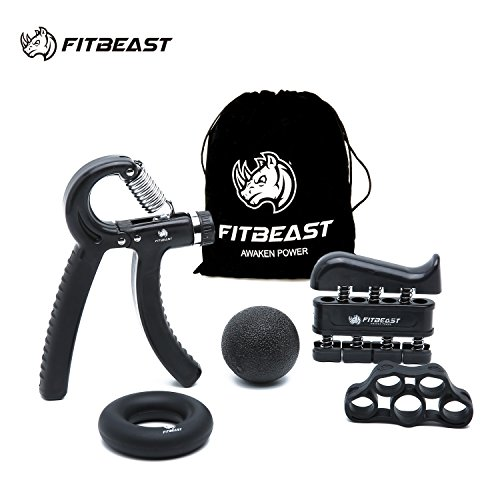 Handtrainer zur Kraftsteigerung, Unterarmgriff Trainingsset - 5er-Pack, FitBeast verstellbarer Handtrainer, Finger Trainingsgerät, Fingerstretcher, Trainingsring & Stressabbau-Griffkugel für Sportler