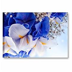 Idea Regalo - Quadri L&C ITALIA Quadro Moderno Fiori Blu Iris 70 x 50 Stampa su Tela per Soggiorno Cucina Camera da Letto Bagno