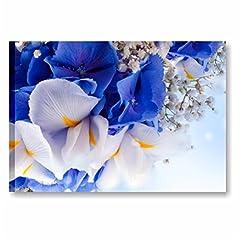 Idea Regalo - Quadri L&C ITALIA Blue iris 70 x 50 cm quadro moderno artiginale stampe su tela fiori blu bianchi arredamento Made in Italy