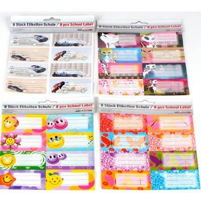 """4 x 8 (32) etiquetas adhesivas """"escuela"""", cada 8 x 3,5 cm, 4-modelos surtidos"""
