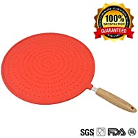 KALREDE Silicone Splatter Screen Strainer for Frying Pan - Stops 97% of Hot Oil Splash-Anti Grease Splatter Protector Cover for 315mm Diameter with Ergonomic Wood Handle(Red)