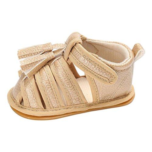 Saingace Bébé Fille Garçon Lit de Bébé Tassels Chaussures Bébé Respirant Baskets Des sandales (4.3inch/0-6mois, Rose chaude) Or