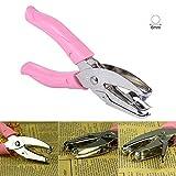 Hand 1-Loch Metall DIY Handwerk Papier Schlagen Puncher Einzelner Rundlochstanze Handwerkzeug mit rosa Griff für Büro Zuhause Zimmer