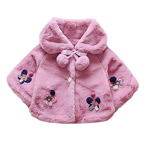 Modaworld Baby-Säuglingsmädchen Wintermantel-Mantel-Jacke Starke Warme Kapuzenjacke Kinderjacke Daunenjacke Baby Säuglings Mädchen Pelz Trauben Herbst Winter Kleidung
