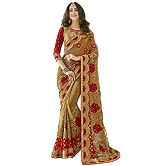 Triveni Sarees Georgette Festival Wear Embroidered Traditional Half and Half Sarees (Beige)