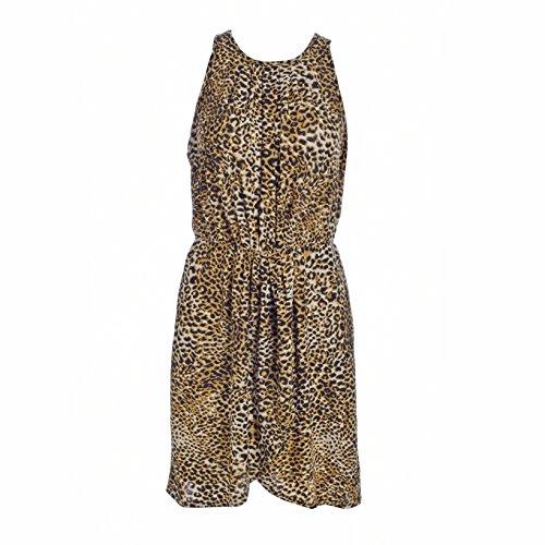 Blooming Jelly Damen Kleid Leopard Printing Scoop Neck Ruched Halter Neck Mini Kleid Mehrfarbig